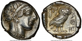 ATTICA. Athens. Ca. 440-404 BC. AR tetradrachm (24mm, 17.19 gm, 10h). NGC AU 4/5 - 4/5. Mid-mass coinage issue. Head of Athena right, wearing crested ...