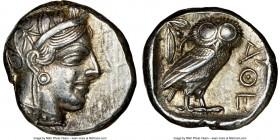 ATTICA. Athens. Ca. 440-404 BC. AR tetradrachm (23mm, 17.19 gm, 10h). NGC Choice XF 5/5 - 5/5. Mid-mass coinage issue. Head of Athena right, wearing c...
