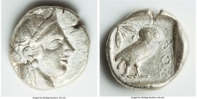 ATTICA. Athens. Ca. 440-404 BC. AR tetradrachm (26mm, 17.18 gm, 10h). VF. Mid-mass coinage issue. Head of Athena right, wearing crested Attic helmet o...