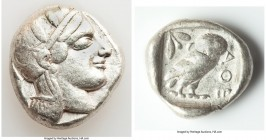 ATTICA. Athens. Ca. 440-404 BC. AR tetradrachm (25mm, 17.13 gm, 2h). VF. Mid-mass coinage issue. Head of Athena right, wearing crested Attic helmet or...