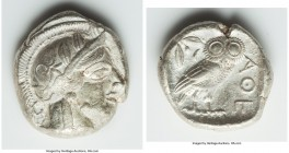 ATTICA. Athens. Ca. 440-404 BC. AR tetradrachm (25mm, 17.03 gm, 8h). Choice VF. Mid-mass coinage issue. Head of Athena right, wearing crested Attic he...