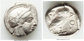 ATTICA. Athens. Ca. 440-404 BC. AR tetradrachm (24mm, 17.14 gm, 1h). About XF, punch mark. Mid-mass coinage issue. Head of Athena right, wearing crest...