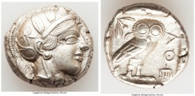 ATTICA. Athens. Ca. 440-404 BC. AR tetradrachm (24mm, 17.04 gm, 4h). XF. Mid-mass coinage issue. Head of Athena right, wearing crested Attic helmet or...