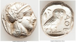 ATTICA. Athens. Ca. 440-404 BC. AR tetradrachm (25mm, 17.04 gm, 7h). Choice XF, mark. Mid-mass coinage issue. Head of Athena right, wearing crested At...