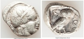 ATTICA. Athens. Ca. 440-404 BC. AR tetradrachm (26mm, 17.06 gm, 3h). Choice VF. Mid-mass coinage issue. Head of Athena right, wearing crested Attic he...