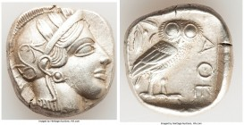 ATTICA. Athens. Ca. 440-404 BC. AR tetradrachm (25mm, 16.98 gm, 12h). XF. Mid-mass coinage issue. Head of Athena right, wearing crested Attic helmet o...