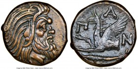 CIMMERIAN BOSPORUS. Panticapaeum. 4th century BC. AE (21mm, 6h). NGC XF. Head of bearded Pan right / Π-A-N, forepart of griffin left, sturgeon left be...