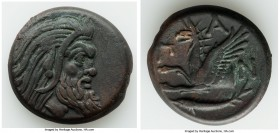CIMMERIAN BOSPORUS. Panticapaeum. 4th century BC. AE (22mm, 7.05 gm, 11h). Choice VF. Head of bearded Pan right / Π-A-N, forepart of griffin left, stu...