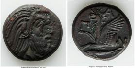 CIMMERIAN BOSPORUS. Panticapaeum. 4th century BC. AE (21mm, 7.49 gm, 11h). Choice VF. Head of bearded Pan right / Π-A-N, forepart of griffin left, stu...