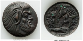 CIMMERIAN BOSPORUS. Panticapaeum. 4th century BC. AE (20mm, 7.08 gm, 11h). Choice VF, light bronze disease. Head of bearded Pan right / Π-A-N, forepar...