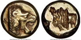 LESBOS. Mytilene. Ca. 521-478 BC. EL sixth-stater or hecte (10mm, 2.52 gm, 3h). NGC XF 5/5 - 3/5. Head of roaring lion right with pelleted truncation ...