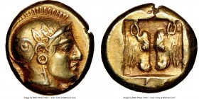 LESBOS. Mytilene. Ca. 454-427 BC. EL sixth stater or hecte (10mm, 2.54 gm, 10h). NGC AU 5/5 - 3/5, brushed. Head of Athena right wearing crested Attic...