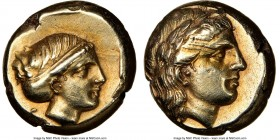 LESBOS. Mytilene. Ca. 377-326 BC. EL sixth-stater or hecte (10mm, 2.56 gm, 11h). NGC AU 5/5 - 3/5, scuff. Laureate head of Apollo right / Head of Arte...