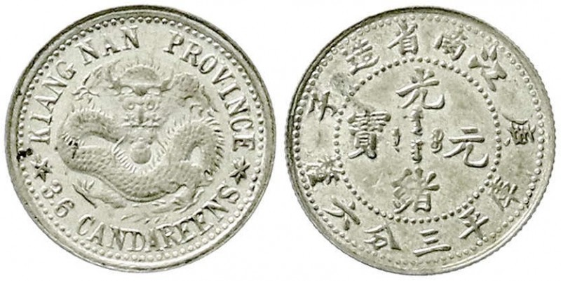 CHINA und Südostasien, China, Qing-Dynastie. De Zong, 1875-1908 5 Cents (3.6 Can...