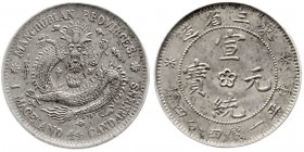 CHINA und Südostasien, China, Qing-Dynastie. Pu Yi (Xuan Tong), 1908-1911 20 Cents (1 Mace and 4.4 Candareens) o.J.(1908) Manchurian Provinces, ohne P...