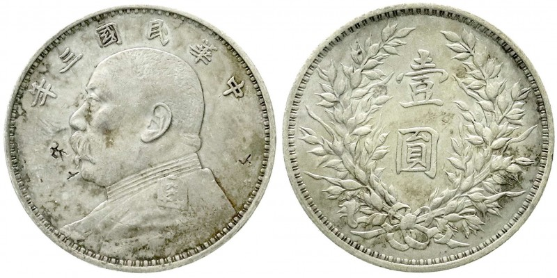 CHINA und Südostasien, China, Republik, 1912-1949 Dollar (Yuan) Jahr 3 = 1914. P...