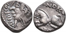 CELTIC, Northwest Gaul. Carnutes. Circa 50-30 BC. Quinarius (Silver, 12 mm, 1.59 g, 6 h), Andecombrius. ANDECOM Diademed and draped male bust to left....