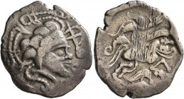 CELTIC, Northwest Gaul. Namnetes. Late 2nd to mid 1st century BC. Stater (Electrum, 24 mm, 7.02 g, 2 h), 'a l'hippophore - à la croix' type. Celticize...