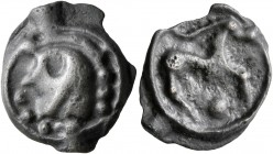 CELTIC, Northwest Gaul. Senones. Circa 100-60 BC. Cast unit (Potin, 17 mm, 3.03 g, 9 h), 'au cheval à la longue oreille' type. Stylized head to left, ...