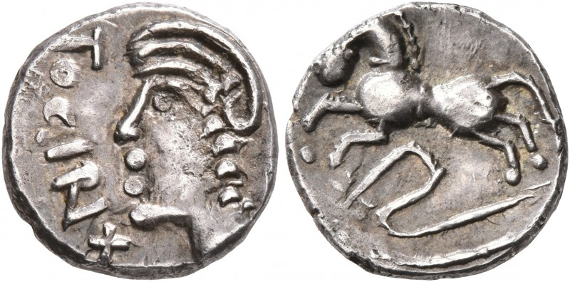 CELTIC, Central Gaul. Sequani. Mid 1st century BC. Quinarius (Silver, 13 mm, 1.9...