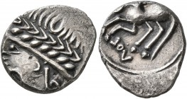 CELTIC, Southern Gaul. Allobroges. Cn. Pompeius Voluntilus, circa 70-61 BC. Quinarius (Silver, 15 mm, 2.28 g, 5 h). Laureate male head to left. Rev. V...