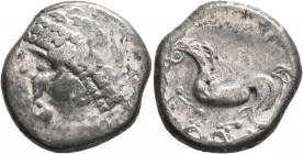 CELTIC, Upper Danube. Noricum. 2nd century BC. Tetradrachm (Silver, 22 mm, 9.69 g, 11 h), 'Gjurgjevac' type. Wreathed and diademed male head to left. ...