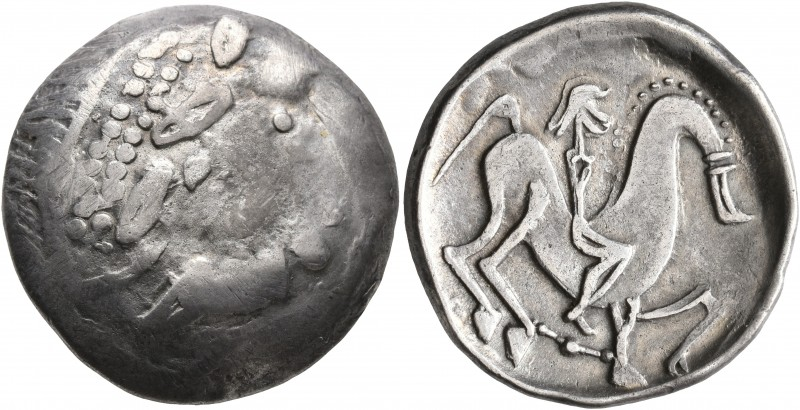 CELTIC, Carpathian region. Uncertain tribe. Circa 2nd century BC. Tetradrachm (S...