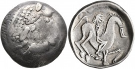 CELTIC, Carpathian region. Uncertain tribe. Circa 2nd century BC. Tetradrachm (Silver, 26 mm, 12.26 g, 5 h), 'Kinnlos' type. Celticized laureate head ...