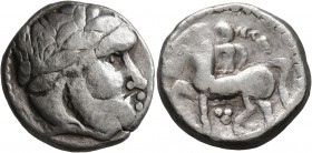 CELTIC, Middle Danube. Uncertain tribe. 2nd century BC. Tetradrachm (Silver, 24 mm, 12.41 g, 9 h), 'Ohrlocke' type. Celticized laureate head of Zeus t...
