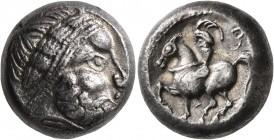 CELTIC, Middle Danube. Uncertain tribe. 2nd century BC. Tetradrachm (Silver, 18 mm, 12.44 g, 5 h), 'Dachreiter' type. Celticized laureate and diademed...