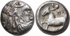 CELTIC, Middle Danube. Uncertain tribe. 2nd century BC. Tetradrachm (Silver, 18 mm, 12.95 g, 9 h), 'Eselohr' type. Celticized laureate head of Zeus to...