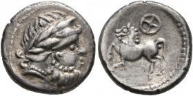 CELTIC, Middle Danube. Uncertain tribe. 2nd-1st centuries BC. Drachm (Silver, 14 mm, 1.93 g, 3 h), 'Kugelwange' type. Celticized laureate head of Zeus...