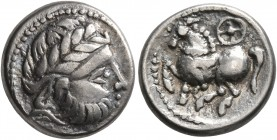 CELTIC, Middle Danube. Uncertain tribe. 2nd-1st centuries BC. Drachm (Silver, 13 mm, 2.66 g, 11 h), 'Kugelwange' type. Celticized laureate head of Zeu...