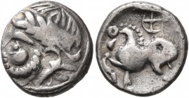 CELTIC, Middle Danube. Uncertain tribe. 2nd-1st centuries BC. Drachm (Silver, 13 mm, 1.73 g, 6 h), 'Kugelwange' type. Celticized laureate head of Zeus...
