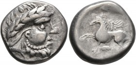 CELTIC, Middle Danube. Uncertain tribe. 2nd-1st centuries BC. Tetradrachm (Silver, 22 mm, 11.92 g, 2 h), 'Pegasos' type. Celticized laureate head of Z...