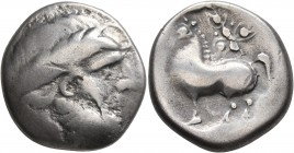 CELTIC, Middle Danube. Uncertain tribe. 2nd century BC. Tetradrachm (Silver, 23 mm, 11.12 g, 1 h), 'Ornamentreiter' type. Celticized laureate head of ...