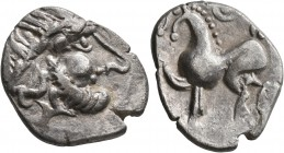 CELTIC, Middle Danube. Uncertain tribe. 2nd-1st centuries BC. 'Tetradrachm' (Silver, 25 mm, 4.73 g, 2 h), 'Kugelwange' type. Celticized laureate head ...