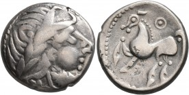 CELTIC, Middle Danube. Uncertain tribe. 2nd-1st centuries BC. Tetradrachm (Subaeratus, 23 mm, 10.55 g, 10 h), 'Kugelwange' type. Celticized laureate h...