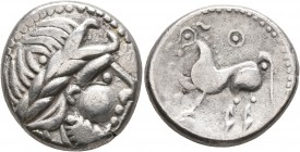 CELTIC, Middle Danube. Uncertain tribe. 2nd-1st centuries BC. Tetradrachm (Silver, 24 mm, 10.93 g, 4 h), 'Kugelwange' type. Celticized laureate head o...