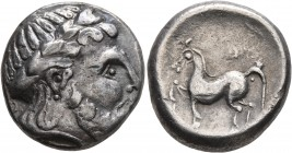 CELTIC, Middle Danube. Uncertain tribe. 2nd-1st centuries BC. Tetradrachm (Silver, 21 mm, 9.70 g, 11 h), 'Kugelwange' type. Celticized laureate head o...