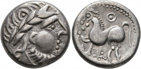 CELTIC, Middle Danube. Uncertain tribe. 2nd-1st centuries BC. Tetradrachm (Silver, 21 mm, 11.07 g, 4 h), 'Kugelwange' type. Celticized laureate head o...