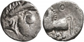 CELTIC, Middle Danube. Uncertain tribe. 2nd-1st centuries BC. Drachm (Silver, 15 mm, 1.40 g, 7 h), 'Kugelwange' type. Celticized laureate head of Zeus...