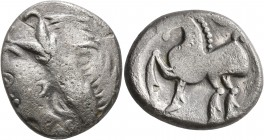 CELTIC, Middle Danube. Uncertain tribe. 2nd-1st centuries BC. Tetradrachm (Silver, 24 mm, 10.56 g, 1 h), 'Kugelwange' type. Celticized laureate head o...