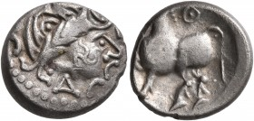 CELTIC, Middle Danube. Uncertain tribe. 2nd-1st centuries BC. Drachm (Silver, 14 mm, 2.26 g, 1 h), 'Kugelwange' type. Celticized laureate head of Zeus...
