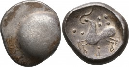 CELTIC, Middle Danube. Uncertain tribe. 2nd-1st centuries BC. Tetradrachm (Silver, 22 mm, 8.76 g), 'Buckelavers' type. Plain bulge. Rev. Celticized ho...