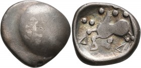 CELTIC, Middle Danube. Uncertain tribe. 2nd-1st centuries BC. Tetradrachm (Silver, 20 mm, 6.88 g), 'Buckelavers' type. Plain bulge. Rev. Celticized ho...