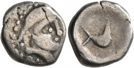 CELTIC, Middle Danube. Uncertain tribe. 2nd-1st centuries BC. Drachm (Silver, 14 mm, 2.74 g, 12 h), 'Vogelpferd' type. Celticized diademed head to rig...
