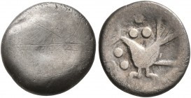 CELTIC, Middle Danube. Uncertain tribe. 2nd-1st centuries BC. Drachm (Silver, 12 mm, 1.47 g), 'Vogelpferd' type. Blank convex surface. Rev. Celticized...
