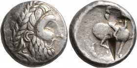 CELTIC, Middle Danube. Uncertain tribe. 2nd century BC. Tetradrachm (Silver, 22 mm, 13.59 g, 9 h), 'Honter' type. Celticized laureate head of Zeus to ...
