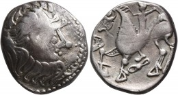 CELTIC, Middle Danube. Uncertain tribe. 2nd-1st centuries BC. Tetradrachm (Silver, 22 mm, 11.30 g, 12 h), 'Kapostal' type. Celticized laureate head of...
